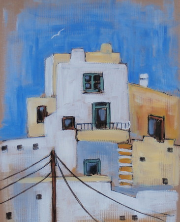 Houses at the old town of Naxos island in Greece