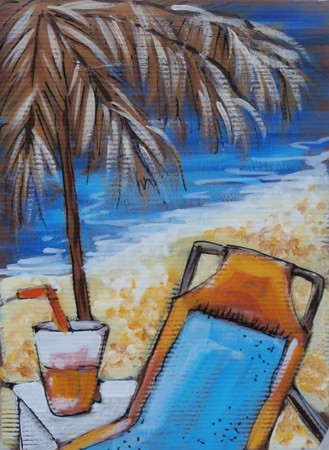 Acrylic original painting of a relaxed day at the beach Stok Fotoğraf