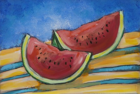 Acrylic original painting of two watermelon fresh slices Stock Photo