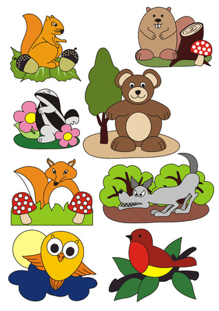 A set of vector isolated illustrations figuring animals living in the forest Stok Fotoğraf