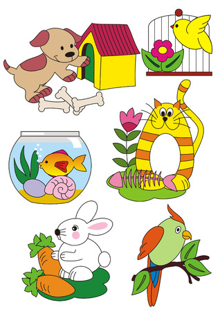 A set of vector isolated illustrations figuring animals living in the house