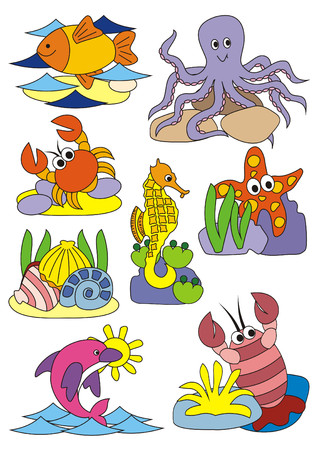 A set of vector isolated illustrations figuring animals living in the sea Stok Fotoğraf