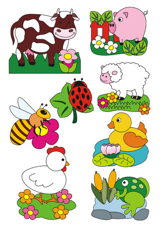 A set of vector isolated illustrations figuring animals living in the farm Stock Photo