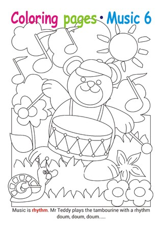 Coloring books page 6 – learn about music with Teddy the bear– educational elementary game