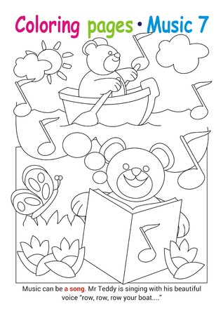 Coloring books page 7 – learn about music with Teddy the bear– educational elementary game Stok Fotoğraf