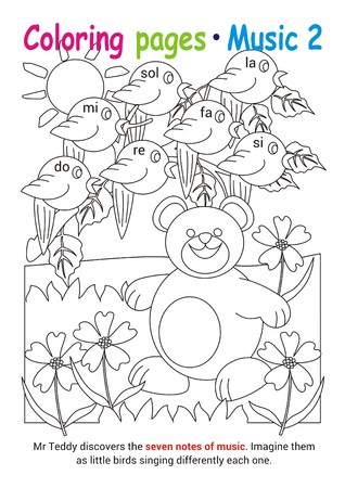 Coloring books page 2 – learn about music with Teddy the bear– educational elementary game