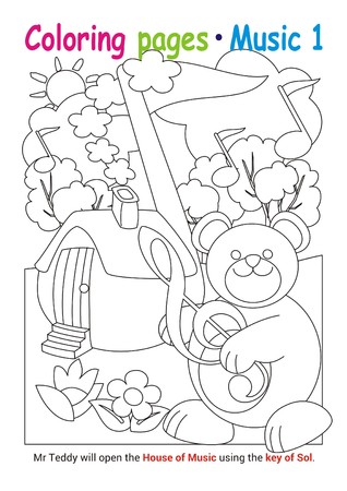 Coloring books page 1 – learn about music with Teddy the bear– educational elementary game Stok Fotoğraf