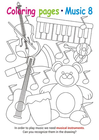 Coloring books page 8 – learn about music with Teddy the bear– educational elementary game