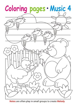 Coloring books page 4 – learn about music with Teddy the bear– educational elementary game Stok Fotoğraf