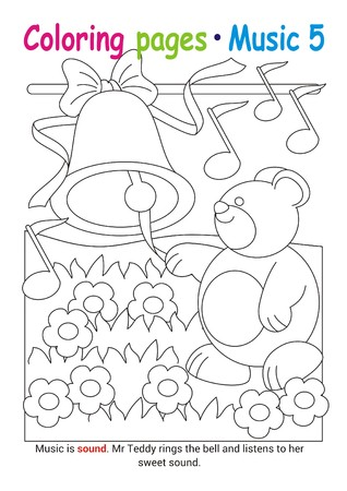 Coloring books page 5 – learn about music with Teddy the bear– educational elementary game Stok Fotoğraf