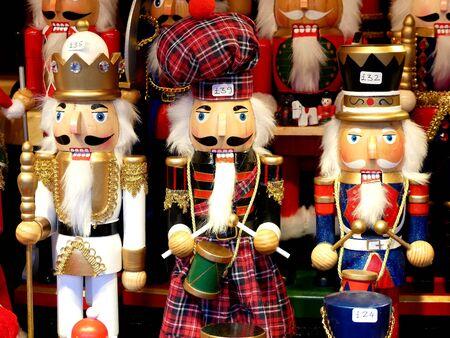 German Nutcracker soldiers as Christmas decoration at Christmas market in Edinburgh, Scotland