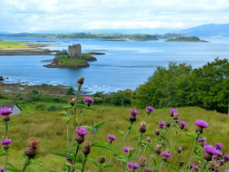 Castle Stalker by Port Appin and Loch Linnhe, near Oban, Argyll, Scotland, Great Britain Stock Photo
