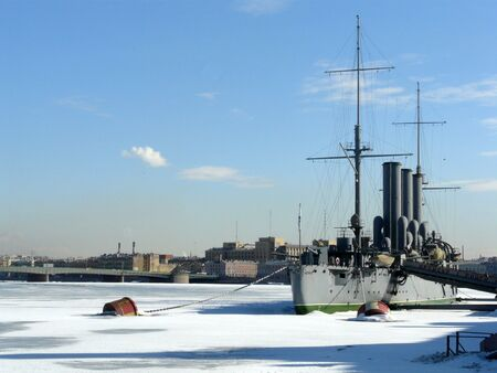 Ship on the Neva river in St Petersburg - winter in Russia