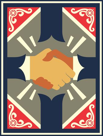 Business handshake with vintage background. Professional agreement and friendship. Deal icon. Stock Vector - 92338130