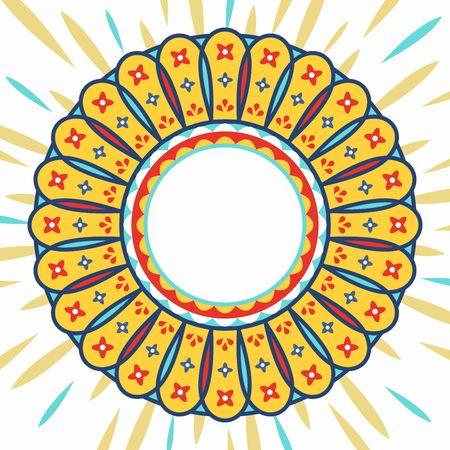 華やかなマンダラエスニックスタイルの幾何学的な花。ベクトルバッジ