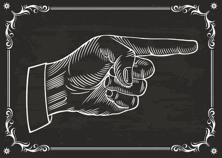 Hand with pointing finger. Vintage draw of chalkboard.