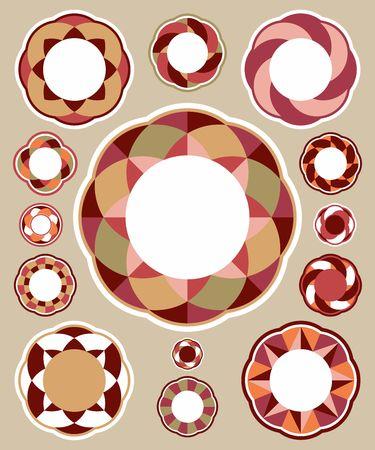 Geometrische ronde etiketten. Stock Illustratie