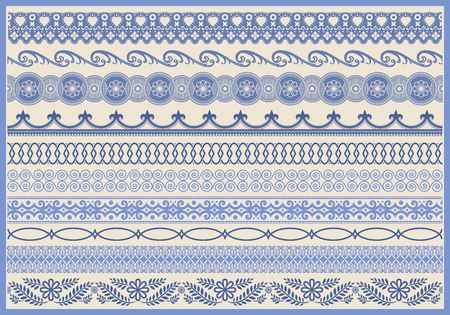 Vintage decorative border set. Ornate elements and fringe illustrations. Ilustrace