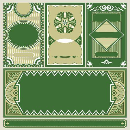 Set of vintage green labels.