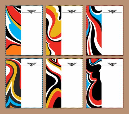 Set of abstract colorful background. Ornate pags for presentation, poster and advertising.