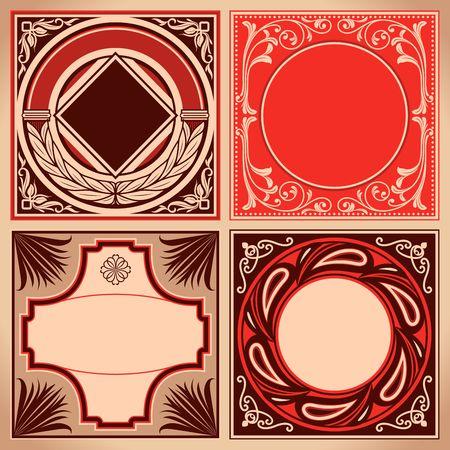 Vintage red and brown labels set. Retro cards and ornate framework. Vector corner decoration.