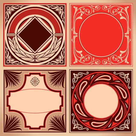 Vintage red and brown labels set. Retro cards and ornate framework. Vector corner decoration.