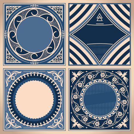 ヴィンテージブルーのカードセット。レトロなボーダーフレームラベル、華やかな丸いベクトル。  イラスト・ベクター素材