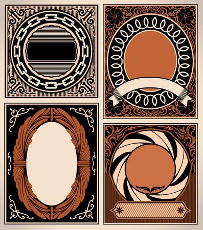 ヴィンテージカードのセット。レトロな装飾的なバッジ、チェーン、リボンとベクトルフローラルフレームワーク。  イラスト・ベクター素材