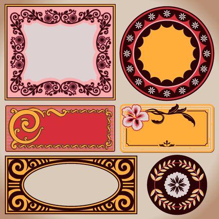Set of vintage frames. Retro labels and ornate shields.