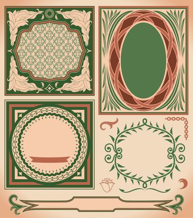 Set of vintage elements. Retro labels and ornate frames.