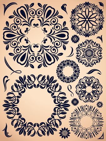 Ornate wreath elements. Vintage round shapes collection.