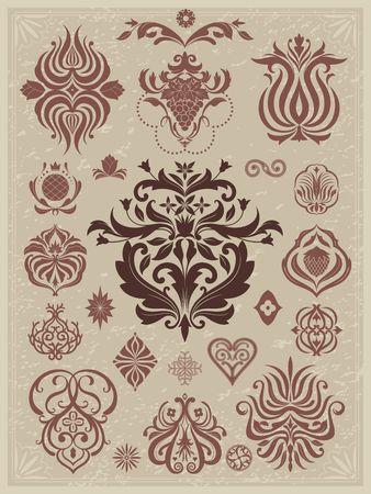 ページの装飾のための花のヴィンテージ要素のコレクション。