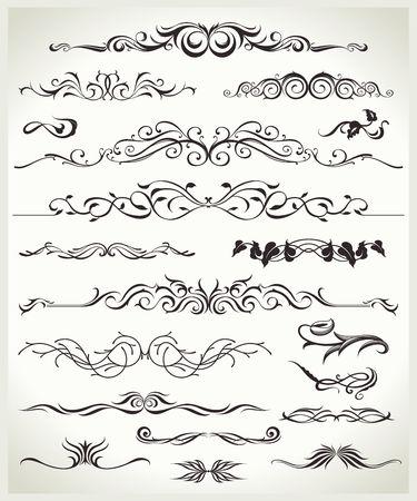 ヴィンテージビクトリア朝の華やかな要素のセット。設計プロジェクトのための装飾的な形状。  イラスト・ベクター素材