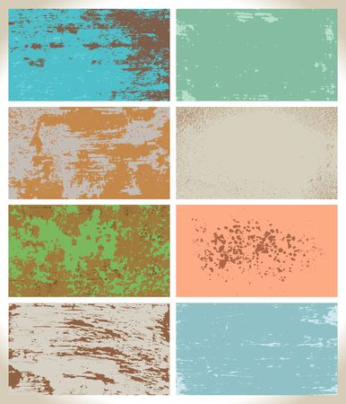 Set of old textures. Worn paint, abstract overlay vector design.