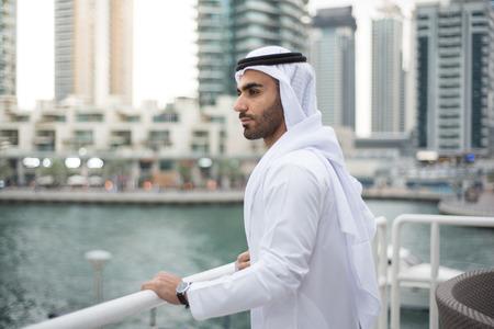 traditional dress: Arab Emirati Man in Traditional Clothes in Dubai