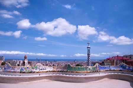 parc: View of Barcelona from Guell Park Stock Photo