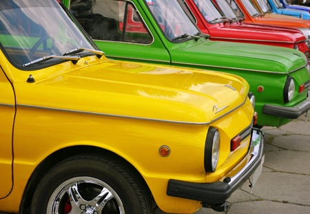 Zaporozhye City, Ukraine - 16 July 2010 - Colorful Zaporozhets cars at the exhibition during an auto race over  Ukrainian and Russian cities Editorial