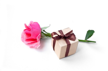 Wrapped gift box with brown satin bow and tender pink rose on white background. Focus on bow photo