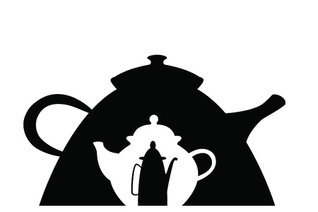 image size: image of three different black and white teapots of different size and shape embedded in one Illustration