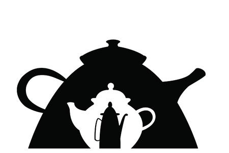 image size: imagen de tres teteras diferentes en blanco y negro de diferente tama�o y forma incrustada en uno