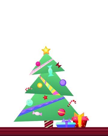 fur tree: immagine luminosa e graziosa albero di Natale decorato con sfere colorate, caramelle, ghirlande, bastoncini di zucchero e stelle luminose con caselle presenti in piedi vicino albero di pelliccia sul pavimento texture Vettoriali
