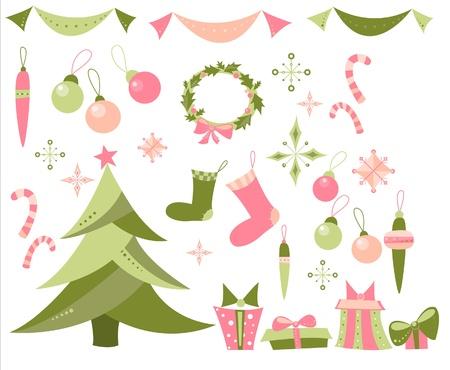 adventskranz: Illustration Neujahr Elemente Set, Weihnachtsbaum, Schneeflocken, Adventskranz, Zuckerstangen, Kugeln, Dekorationen, Str�mpfe, Geschenke und Gegenwart umfasst