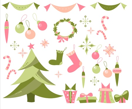 illustration of New Year elements set that includes Christmas tree, snow flakes, advent wreath, candy canes, spheres, decorations, stockings, gifts and present