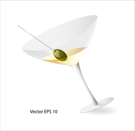 Vector illustration of half full martini glass with golden alcohol martini liquid and green olive on a toothpick standing at some angle with a shadow from the stand Stock Vector - 16195697