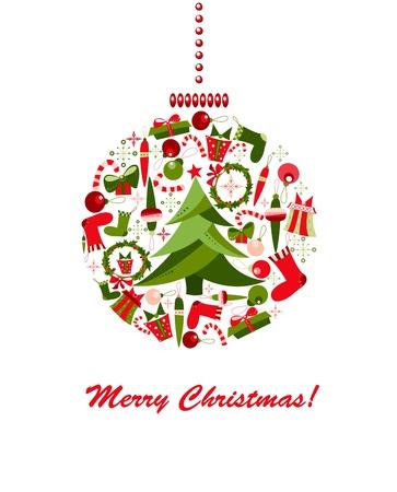 adventskranz: Dekoration Kugel von Weihnachten Elementen Illustration