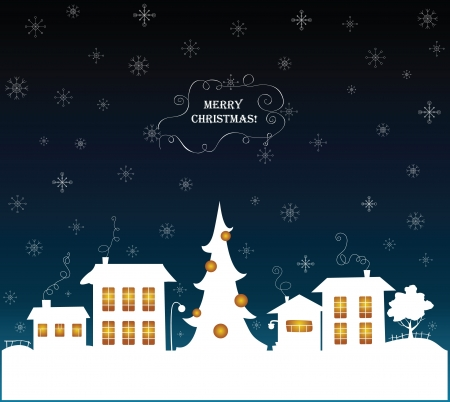 snow scenes: Merry Christmas greeting card
