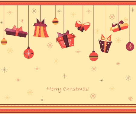 clip art vintage illustration for Christmas greeting card with gifts, decorations, spheres, presents and boxes full of surprises and hang on decorated board among different snowflakes. Colors orange, purple, yellow, brown and tints. Copy space Stock Vector - 16560794