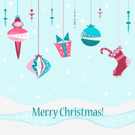 illustration Christmas greeting postcard with pretty ornate decorations Vector