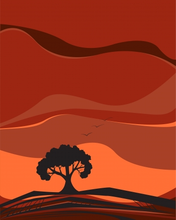 Vector image of single tree black silhouette growing on dry black and brown soil against sunset sky of orange, red and brown color with three birds flying high in the sky