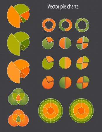 Colorful vector clip art illustrations of different pie charts and diagrams showing progress, movement, business cycle, achievement made in green and orange color, both solid color, gradient, tints, with stroke Stock Vector - 17275416